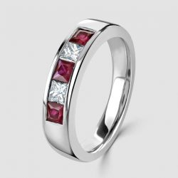 Platinum Ruby Diamond five stone ring