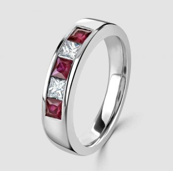 Platinum Ruby Diamond five stone ring