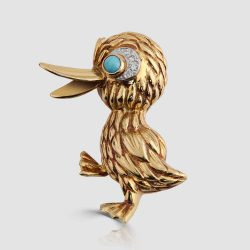 18ct Duck brooch