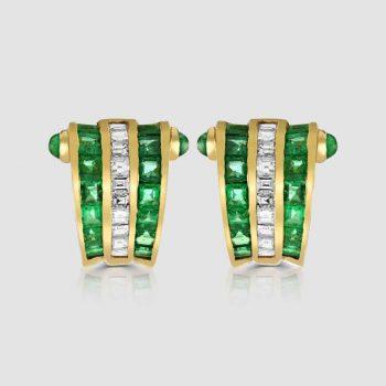 18ct Emerald diamond earrings