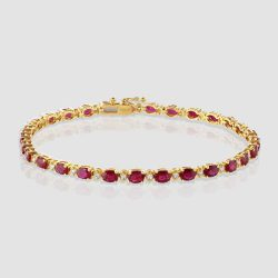 Ruby diamond line bracelet