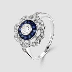 Sapphire/diamond reproduction deco style ring