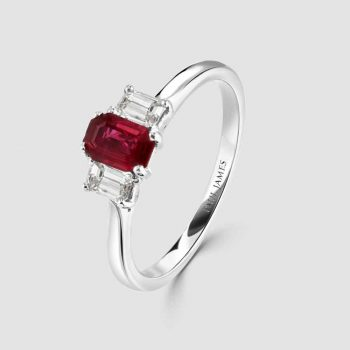Ruby diamond three stone ring