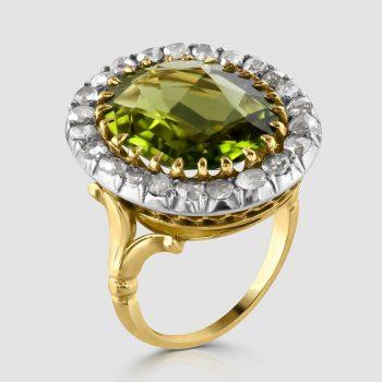 Peridot and rose cut diamond ring