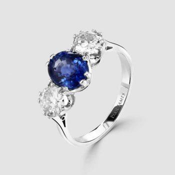 Three stone sapphire/diamond ring