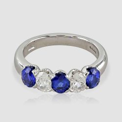 Three stone sapphire/diamond ring