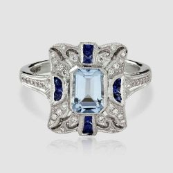 Sapphire, Diamond and Aquamarine cluster ring