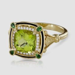 Peridot and green Garnet cluster ring