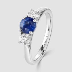 Sapphire and Diamond round cut 3 stone ring