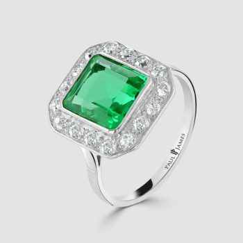Emerald and diamond deco ring