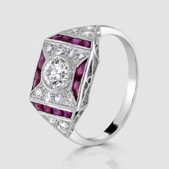 Ruby and diamond deco style ring