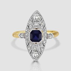 Sapphire and diamond navette ring