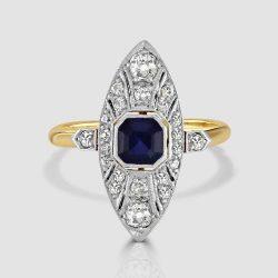 Sapphire and diamond navette ring