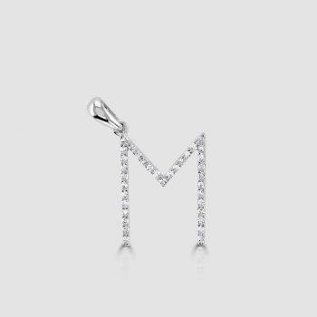 18ct white gold diamond M