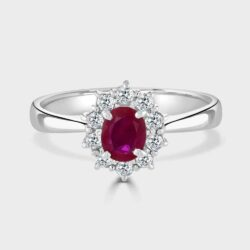 Platinum ruby diamond cluster ring