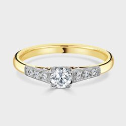 18ct and platinum vintage single stone diamond ring