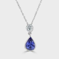 Sapphire and diamond drop shape pendant