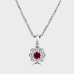 Ruby diamond cluster pendant