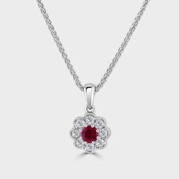 Ruby diamond cluster pendant