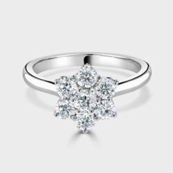 Platinum claw set cluster ring