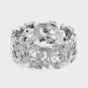 Large 18ct white gold floral ring