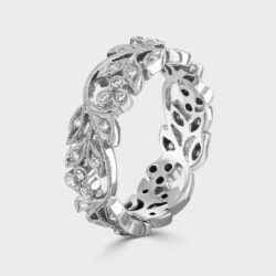 Floral 18ct white gold ring