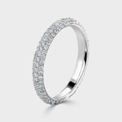 Fully diamond set platinum ring