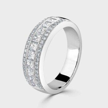 Princess cut 3 row diamond ring