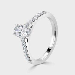 Oval diamond single stone ring with diamond shoulders