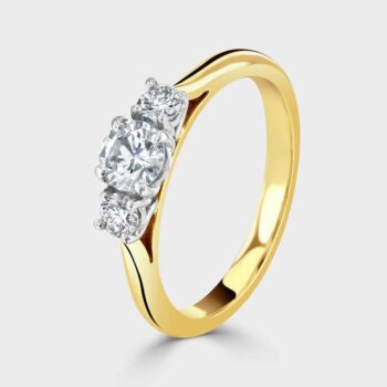 18ct yellow gold classic three stone diamond ring