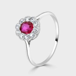 Art deco ruby diamond cluster ring