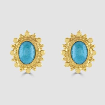 18ct yellow gold Turquoise earrings