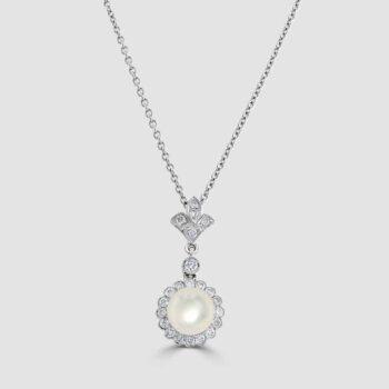 18ct white gold pearl and diamond pendant