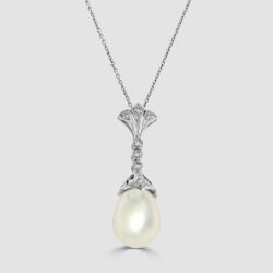 White gold drop shape freshwater pearl and diamond pendant