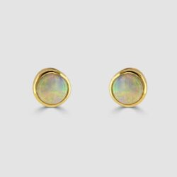 9ct yellow gold round opal stud earrings