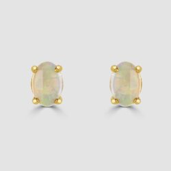 Oval 9ct yellow gold opal earrings