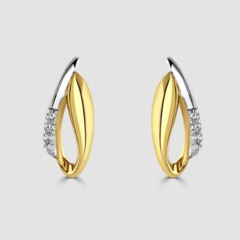 9ct yellow and white gold diamond set stylish earrings