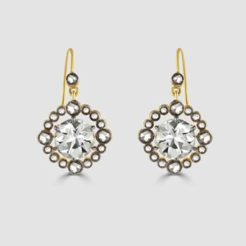 Near colourless Sapphire and diamond drop earrings