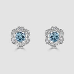 9ct white gold topaz diamond earrings