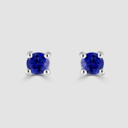 Bright round sapphire stud earrings