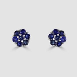 9ct sapphire cluster earrings