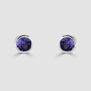 18ct white gold rub over sapphire studs