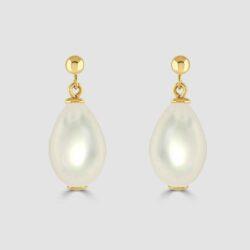 Freshwater yellow gold drop earrings