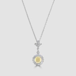 Opal diamond halo pendant