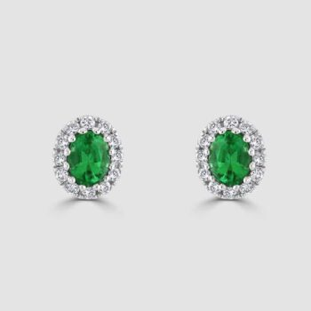 18ct white gold emerald and diamond cluster earrings