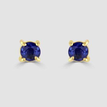 18ct yellow gold round sapphire earrings