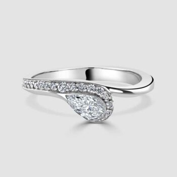 Platinum pear shaped single stone ring