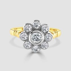 18ct rub-over set cluster ring