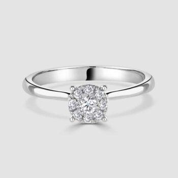 18ct white gold diamond illusion set ring