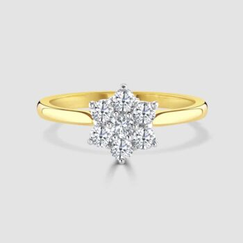 Diamond wed fit cluster ring